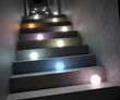Glowing colorful lights on a staircase