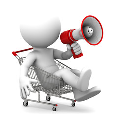 Person ith megaphone inside shopping cart. Isolated over white