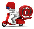 Person on scooter wit e-mail symbol. E-mail delivery concept