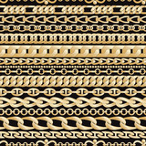 Golden chains seamless pattern