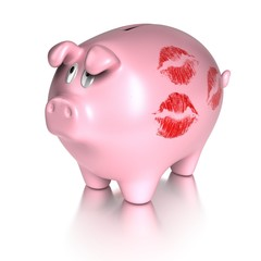 kissed piggy bank - loving money