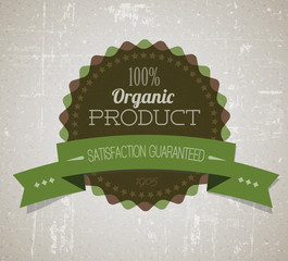 Old vector round retro vintage grunge label for organic product