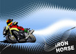 Abstract  background with motorcycle image. Iron horse. Vector i