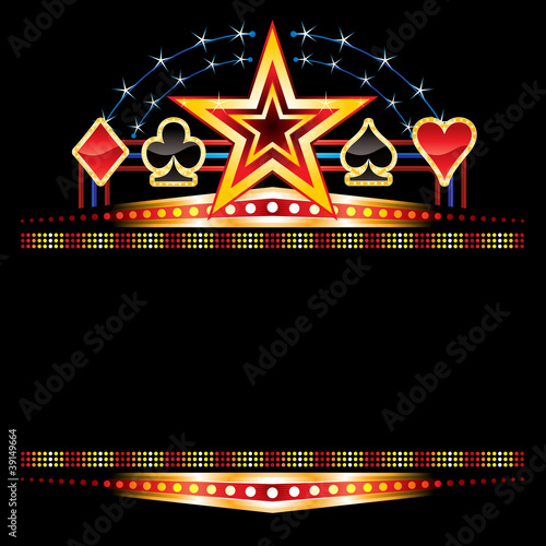 Star and poker symbols over empty neon