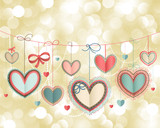 Valentine`s Day vintage card with lacy paper