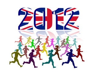 Runners on 2012 UK Flag background,vector file