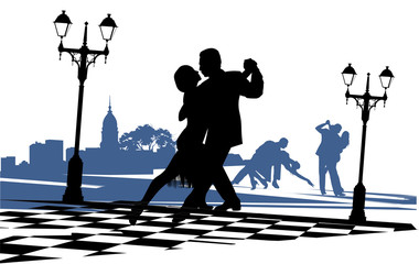 Couple in love dancing tango on the square