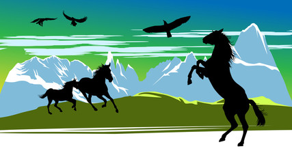 Black horses on the mountains background