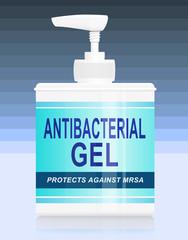 Antibacterial gel dispenser.