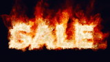 Hot sales. Burning sale word.