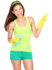 Cleaning woman showing