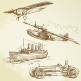 Fototapety old vehicles - airplanes, ship, racing car