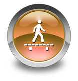 "Orange Glossy Pictogram ""Walk On Boardwalk"""