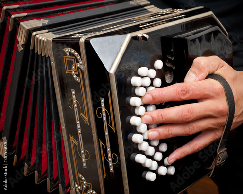 Leinwanddruck Bild Playing traditional bandoneon.