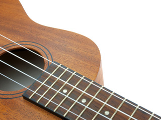 close-up ukulele isolated over white background