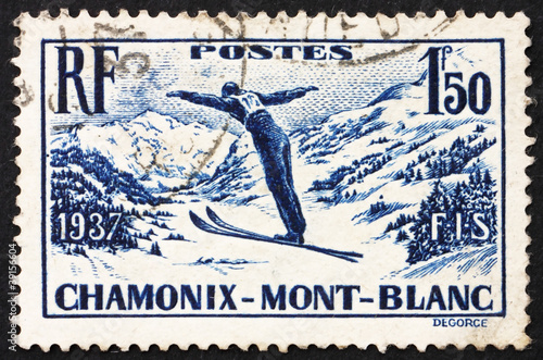 Postage stamp France 1937 Ski Jumper