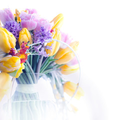 Beauty border frame - art colorful flowers background
