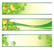 St. Patrick's Day banners with clover and golden coins