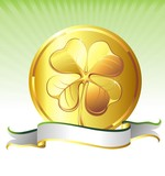 Vector golden coin with clover sign