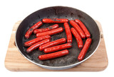 roasted sausages on the pan