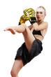 Boxing blond woman