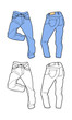 Blue man's jeans (front, back views)
