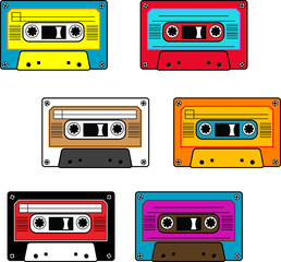 Seamless retro cassettes pattern