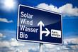 Ortseingangsschild mit Solar, Wind, Wasser, Bio