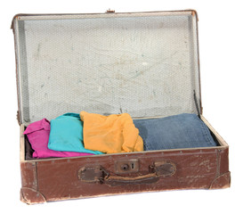 old suitcase with clothes