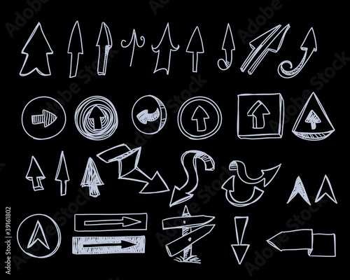 Hand-drawn arrows set on black