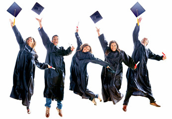 Graduation people jumping