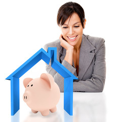 Woman saving for a house