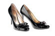 Women's black patent leather shoes
