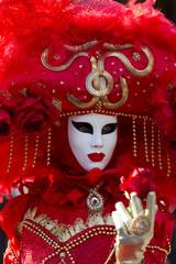 maschera carnevale viso rosso