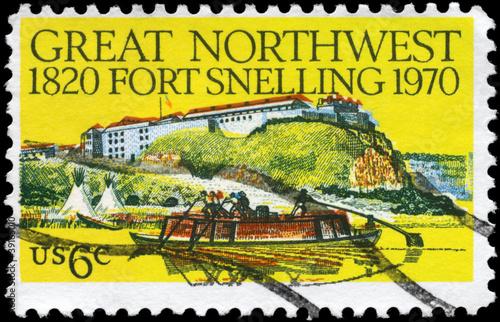 Leinwanddruck Bild USA - CIRCA 1970 Fort Snelling