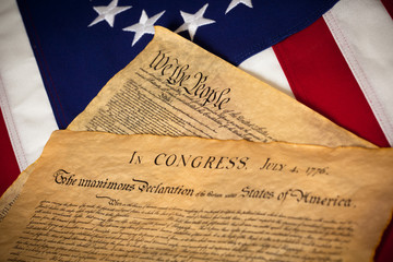 US Constitution and Declaration of Independence On flag