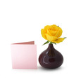 Single yellow rose and blank greeting card