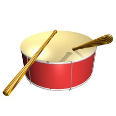 Red Drum with wooden Drumsticks isolated over white