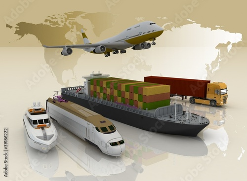Fototapeta na wymiar types of transport on background map of the world