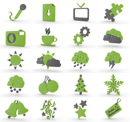 20 3D Icons grün