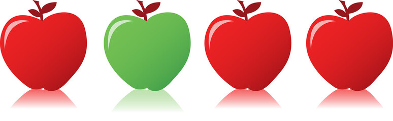 Red apple among green apples illustration design