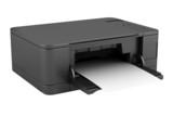 modern black office multifunction printer isolated on white poster