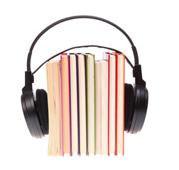 Books stack and headset isolated