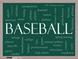 Baseball Word Cloud Concept on a Blackboard