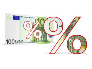 Prozentzeichen Euroschein