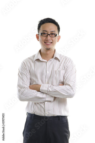 Good looking Asian male isolated on white