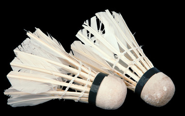 old shuttlecock isolated background
