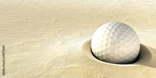 Golf Ball Plugged in a Bunker