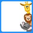 bitmap illustration of little giraffe, elephant and lion