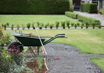 A Gardeners Wheelbarrow on a Lovely Sunny Day.